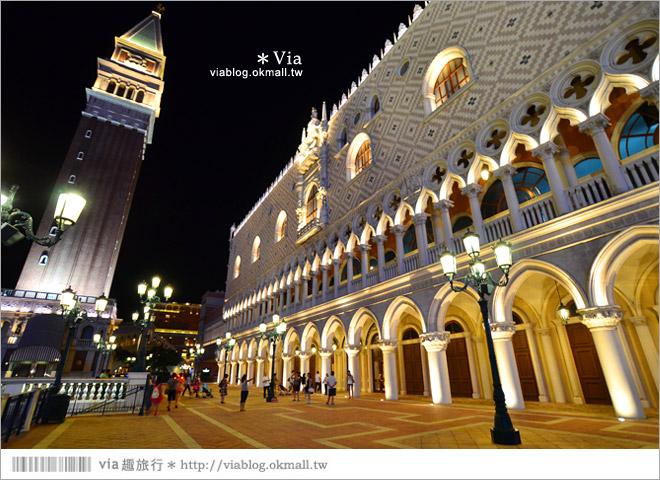 【澳門威尼斯人渡假村】威尼斯運河整個搬進室內的商店街+華麗夜景外觀篇~超美必拍!