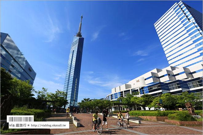 【福岡旅遊景點】福岡自由行~福岡塔*能看見美麗城市及海景的造型前衛三角塔!