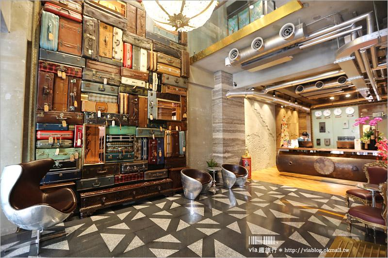 台中設計旅店》1969藍天雀客飯店~老飯店變身時尚文青風格旅店,超大行李牆好吸睛!