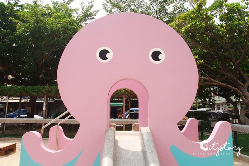 【台中太平】新坪兒童公園~超可愛粉紅章魚磨石溜滑梯,小朋友玩沙去